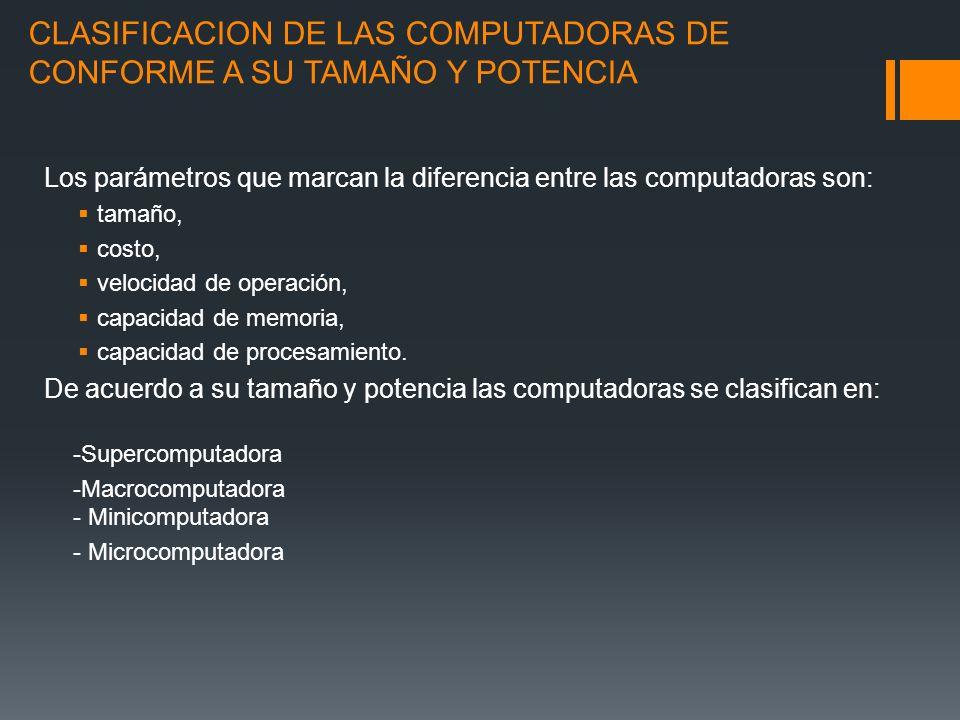 CLASIFICACION DE LAS COMPUTADORAS DE CONFORME A SU TAMAÑO Y POTENCIA