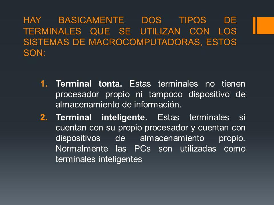 HAY BASICAMENTE DOS TIPOS DE TERMINALES QUE SE UTILIZAN CON LOS SISTEMAS DE MACROCOMPUTADORAS, ESTOS SON: