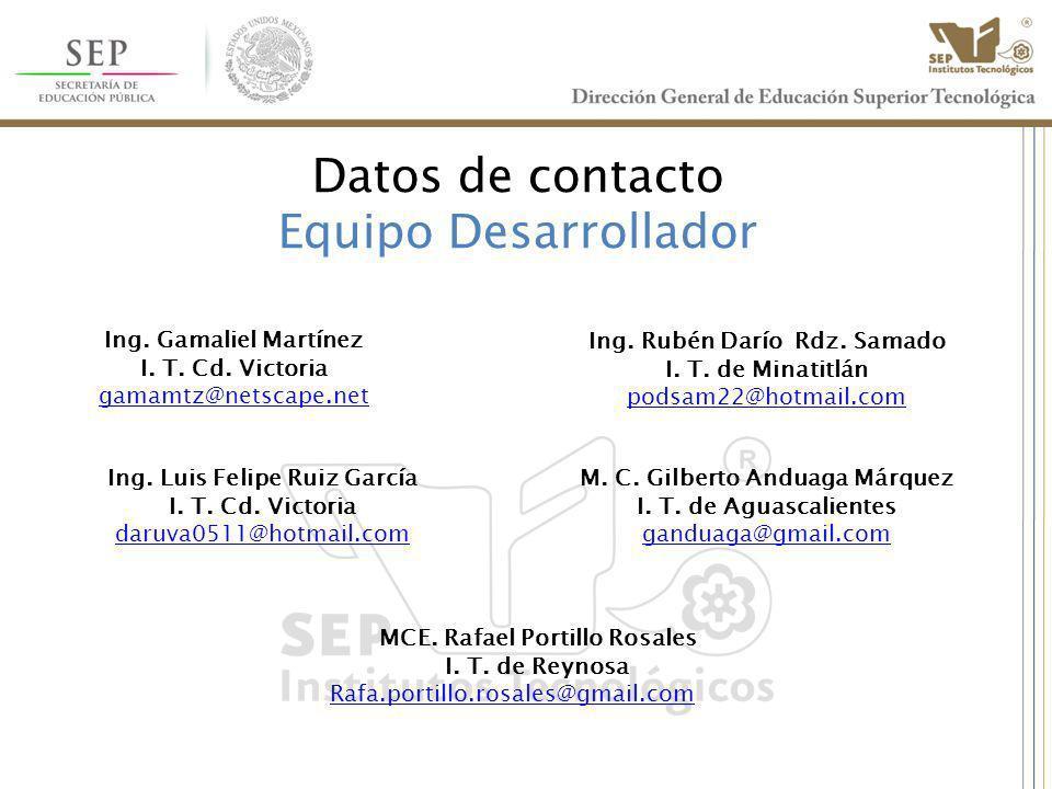 Datos de contacto Equipo Desarrollador