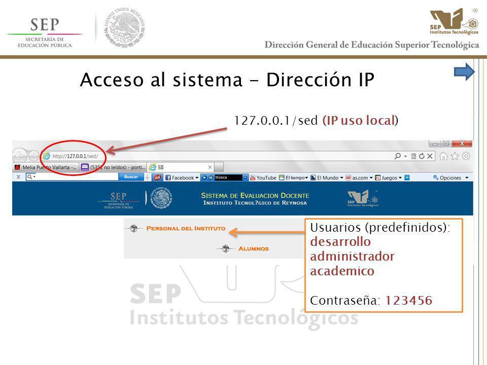 Acceso al sistema - Dirección IP