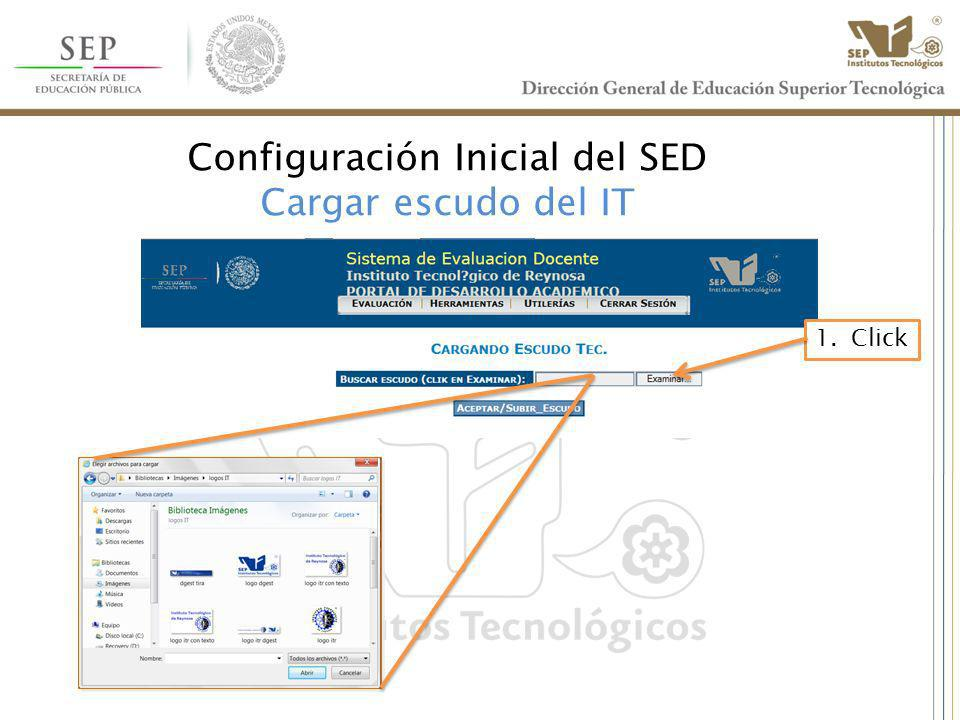 Configuración Inicial del SED Cargar escudo del IT