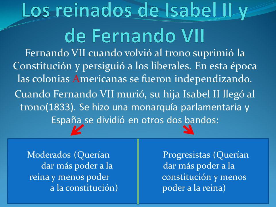 Los reinados de Isabel II y de Fernando VII
