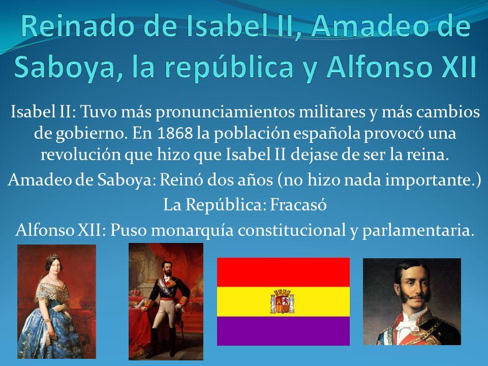 Reinado de Isabel II, Amadeo de Saboya, la república y Alfonso XII