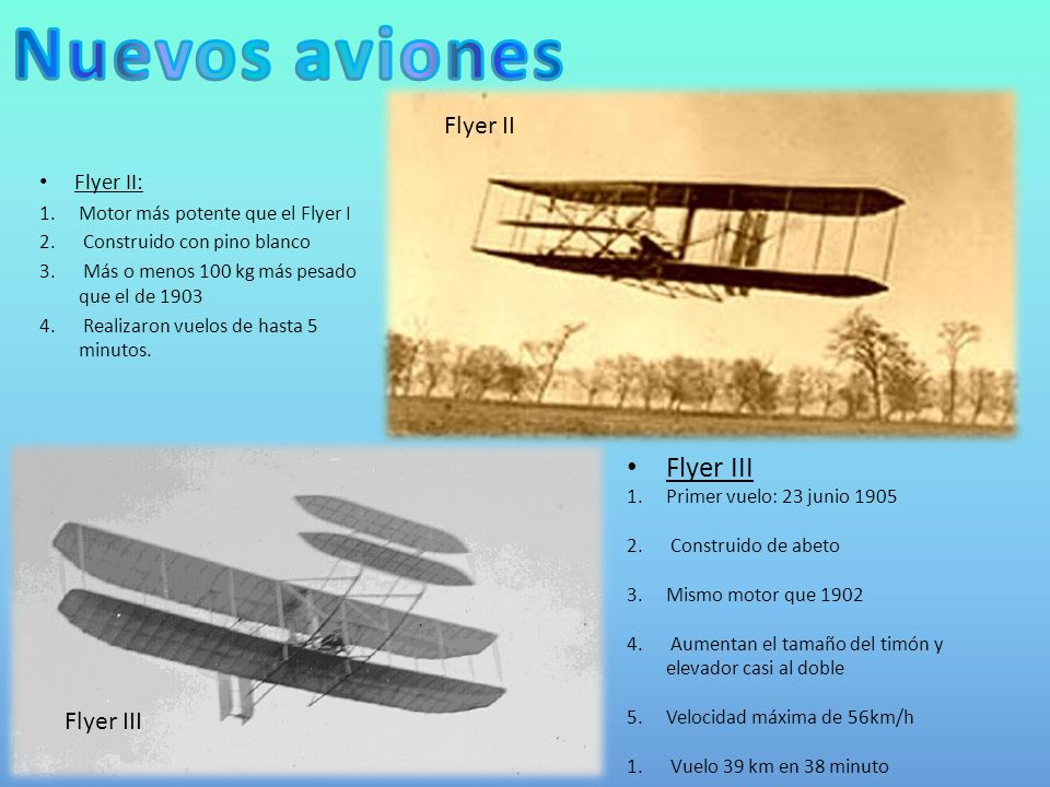 Nuevos aviones Flyer III Flyer II Flyer III Flyer II: