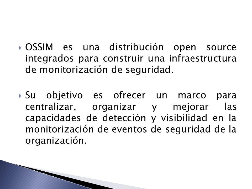 OSSIM es una distribución open source integrados para construir una infraestructura de monitorización de seguridad.