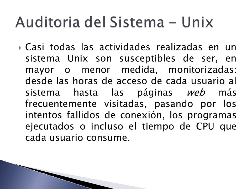 Auditoria del Sistema - Unix