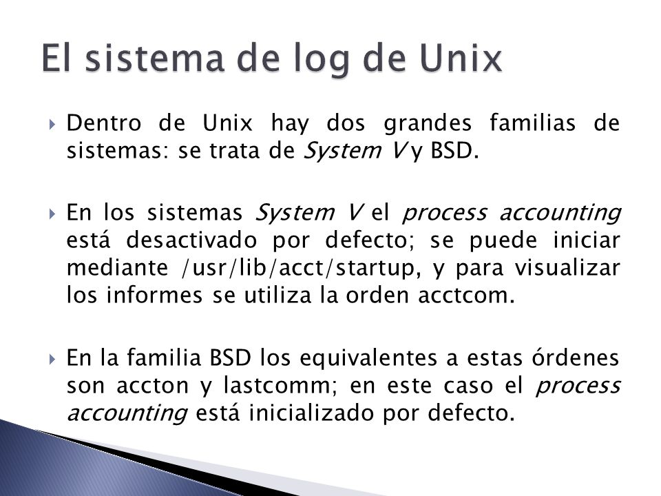 El sistema de log de Unix