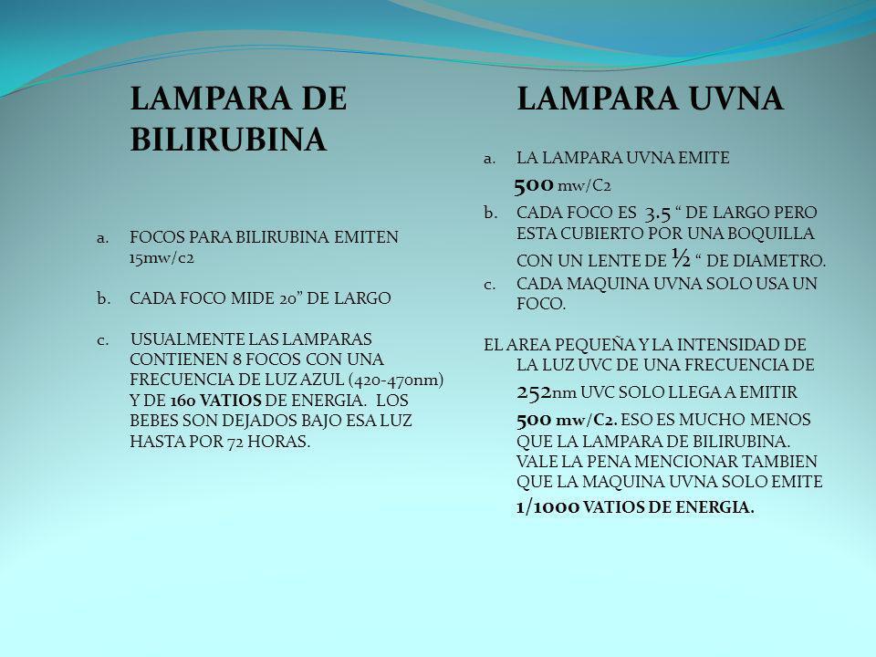 LAMPARA DE BILIRUBINA LAMPARA UVNA LA LAMPARA UVNA EMITE 500 mw/C2