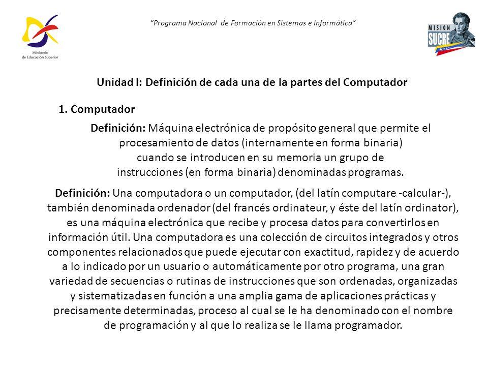 Unidad I: Definición de cada una de la partes del Computador