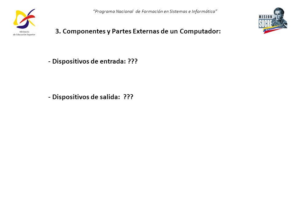 3. Componentes y Partes Externas de un Computador: