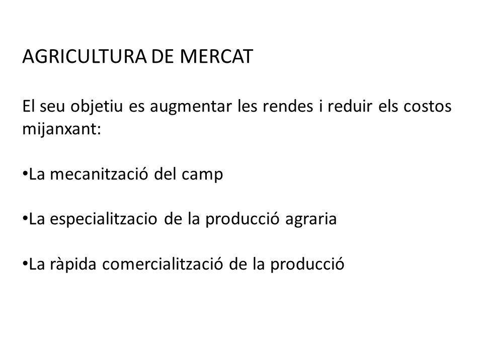 AGRICULTURA DE MERCATEl seu objetiu es augmentar les rendes i reduir els costos mijanxant: La mecanització del camp.