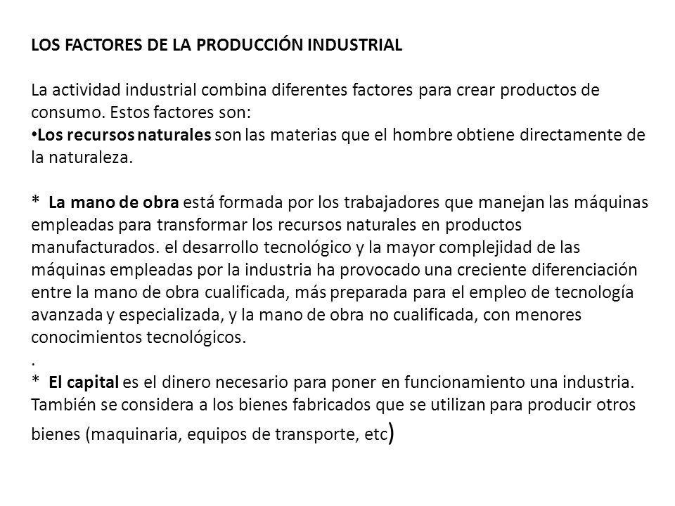 LOS FACTORES DE LA PRODUCCIÓN INDUSTRIAL