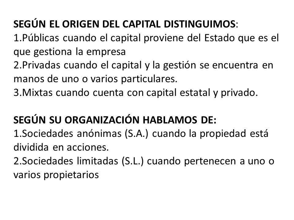 SEGÚN EL ORIGEN DEL CAPITAL DISTINGUIMOS: