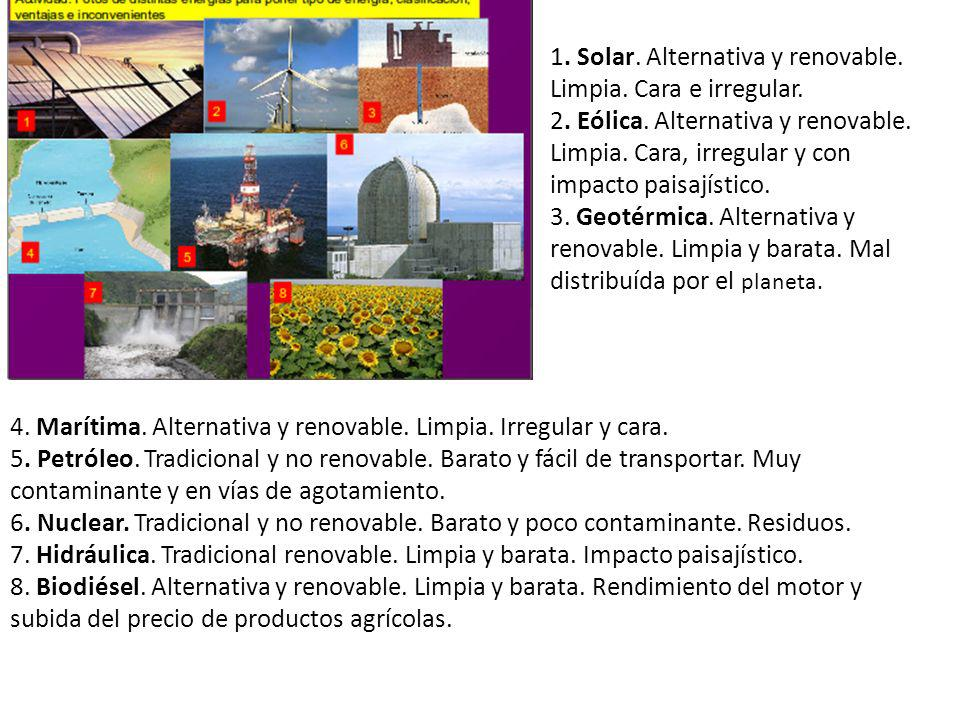 1. Solar. Alternativa y renovable. Limpia. Cara e irregular.