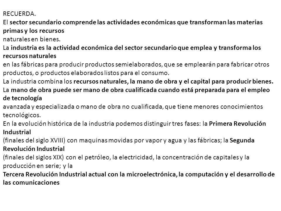 RECUERDA.El sector secundario comprende las actividades económicas que transforman las materias primas y los recursos.