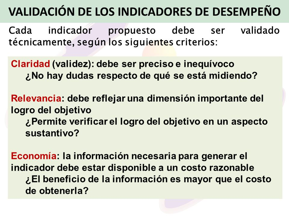 VALIDACIÓN DE LOS INDICADORES DE DESEMPEÑO