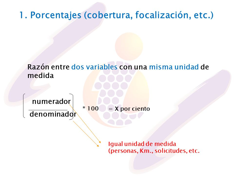 1. Porcentajes (cobertura, focalización, etc.)
