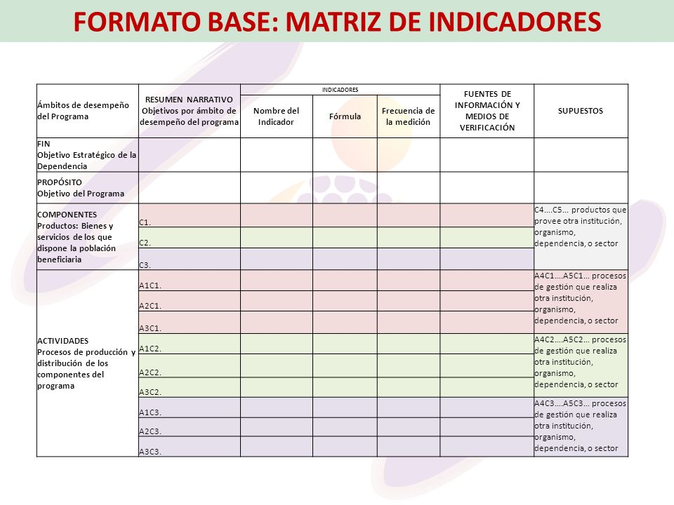 FORMATO BASE: MATRIZ DE INDICADORES