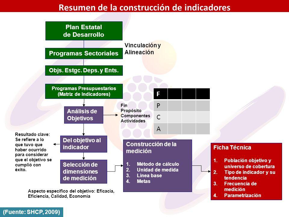 Resumen de la construcción de indicadores