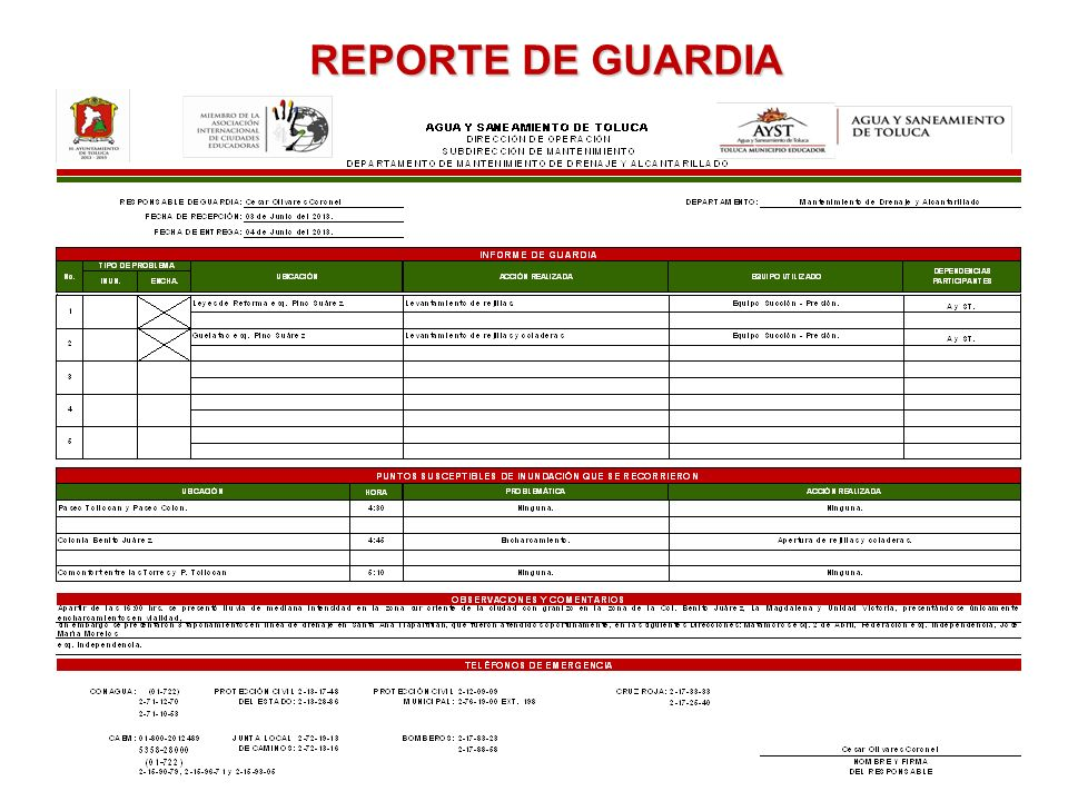 REPORTE DE GUARDIA