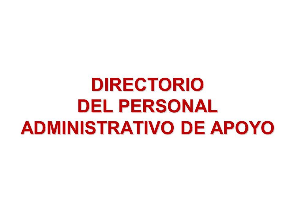 DIRECTORIO DEL PERSONAL ADMINISTRATIVO DE APOYO