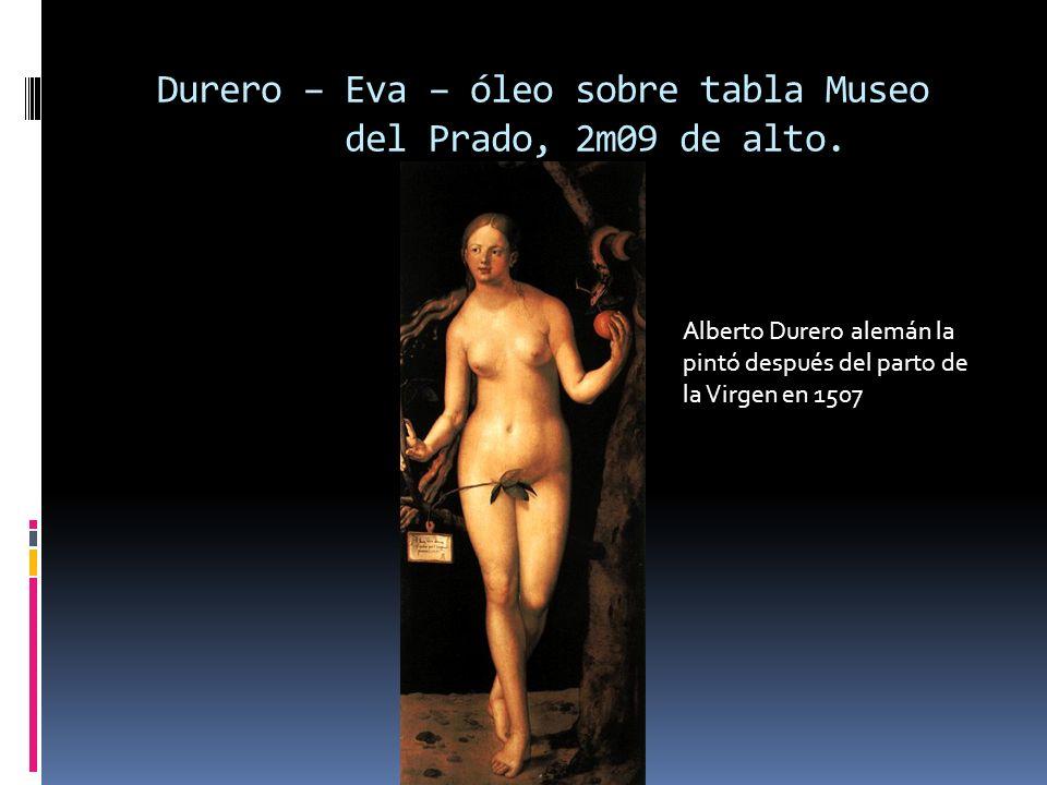 Durero – Eva – óleo sobre tabla Museo del Prado, 2m09 de alto.