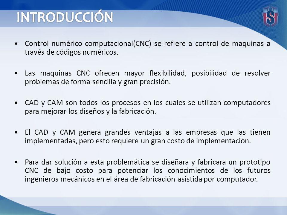INTRODUCCIÓN Control numérico computacional(CNC) se refiere a control de maquinas a través de códigos numéricos.