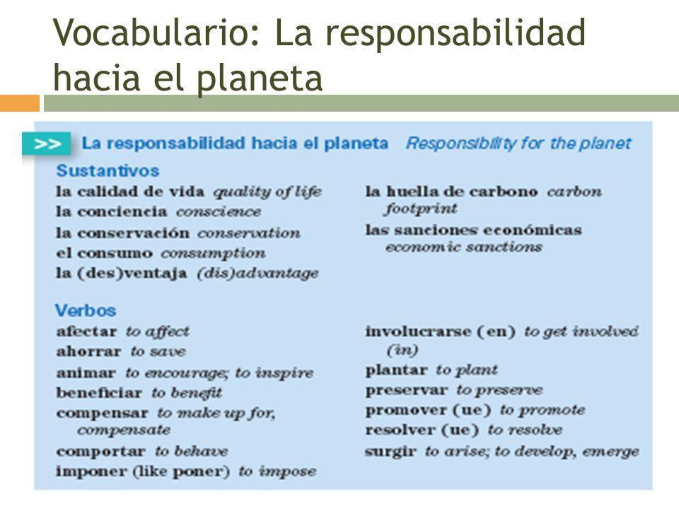 Vocabulario: La responsabilidad hacia el planeta