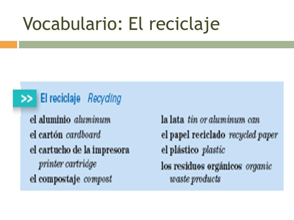 Vocabulario: El reciclaje