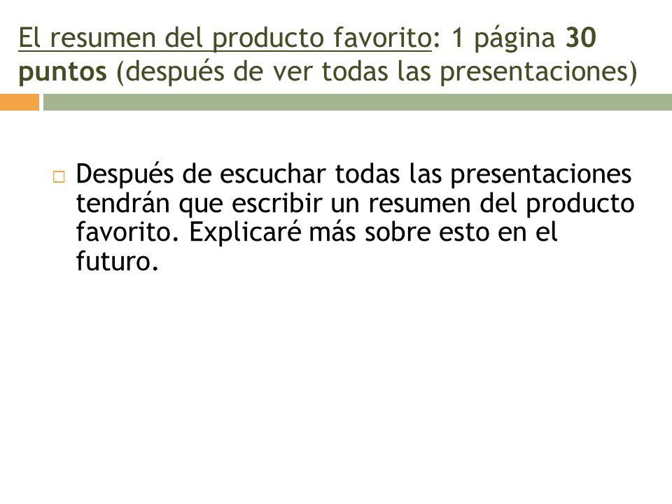 El resumen del producto favorito: 1 página 30 puntos (después de ver todas las presentaciones)