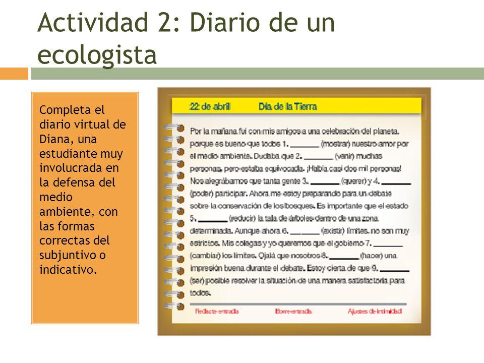 Actividad 2: Diario de un ecologista