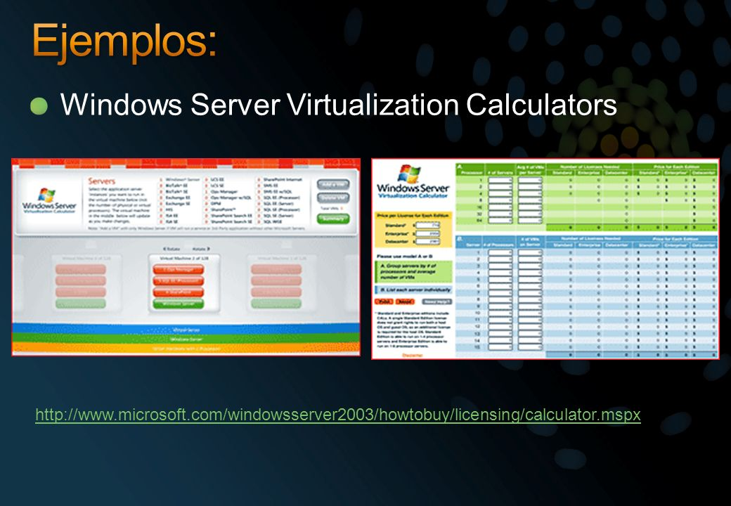 Ejemplos: Windows Server Virtualization Calculators