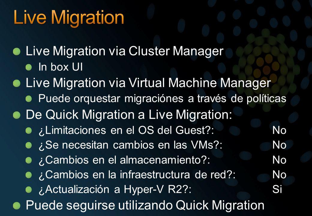 Live Migration Live Migration via Cluster Manager