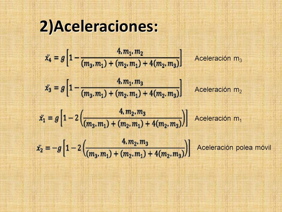 2)Aceleraciones: Aceleración m3 Aceleración m2 Aceleración m1