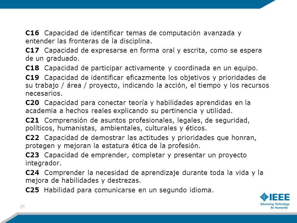 C16 Capacidad de identificar temas de computación avanzada y entender las fronteras de la disciplina.