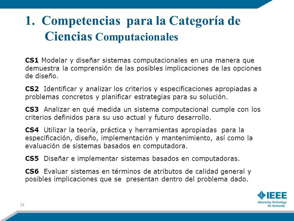 1. Competencias para la Categoría de Ciencias Computacionales