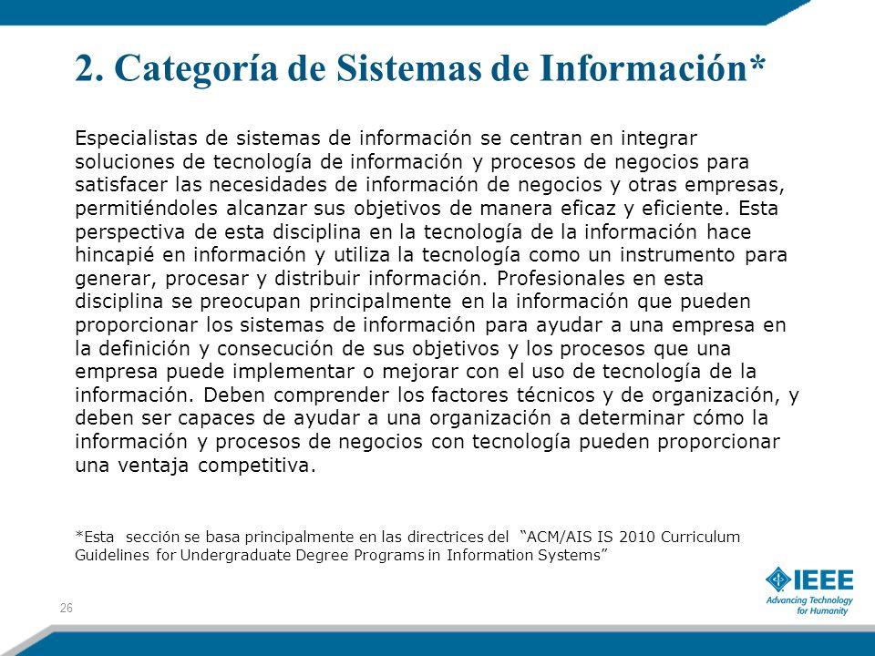 2. Categoría de Sistemas de Información*