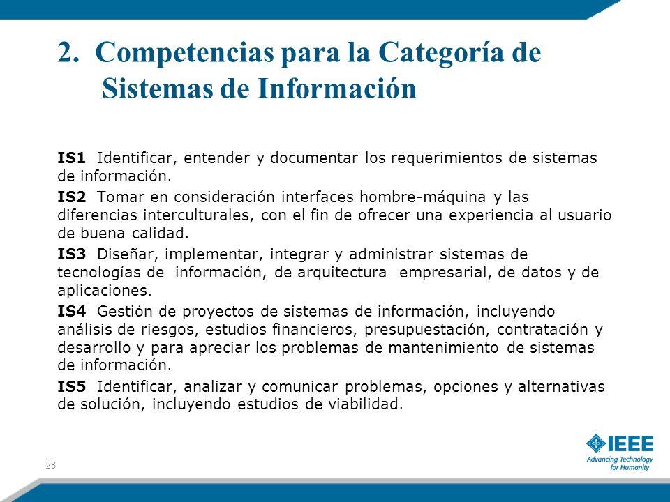 2. Competencias para la Categoría de Sistemas de Información