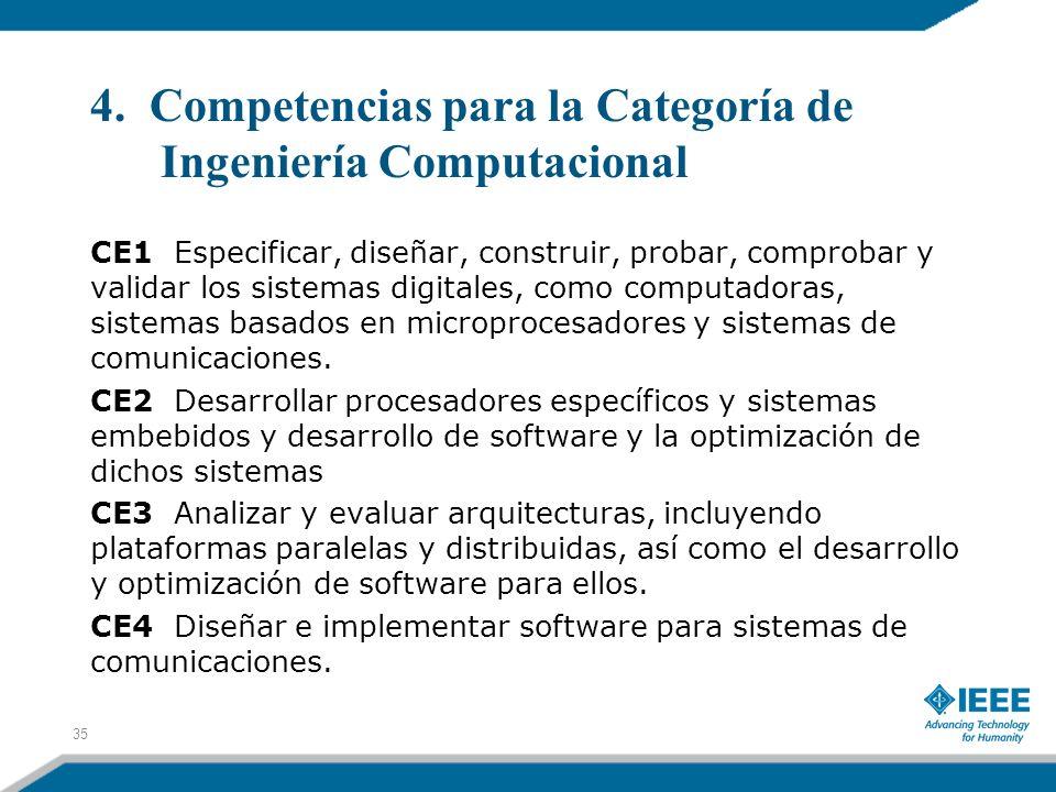 4. Competencias para la Categoría de Ingeniería Computacional