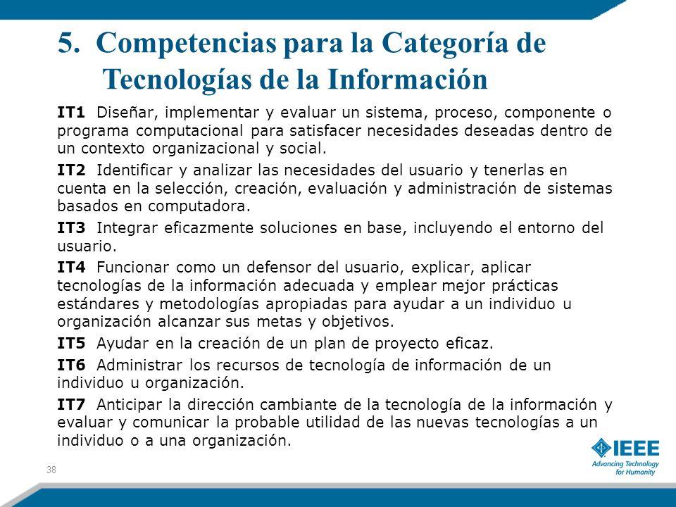 5. Competencias para la Categoría de Tecnologías de la Información