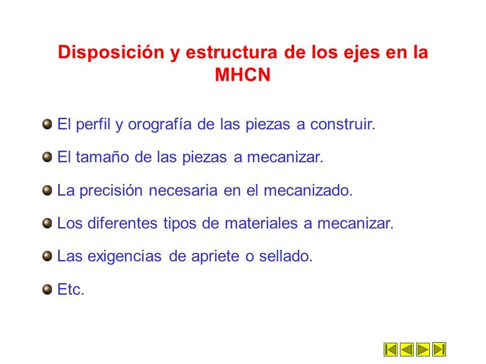 Disposición y estructura de los ejes en la MHCN
