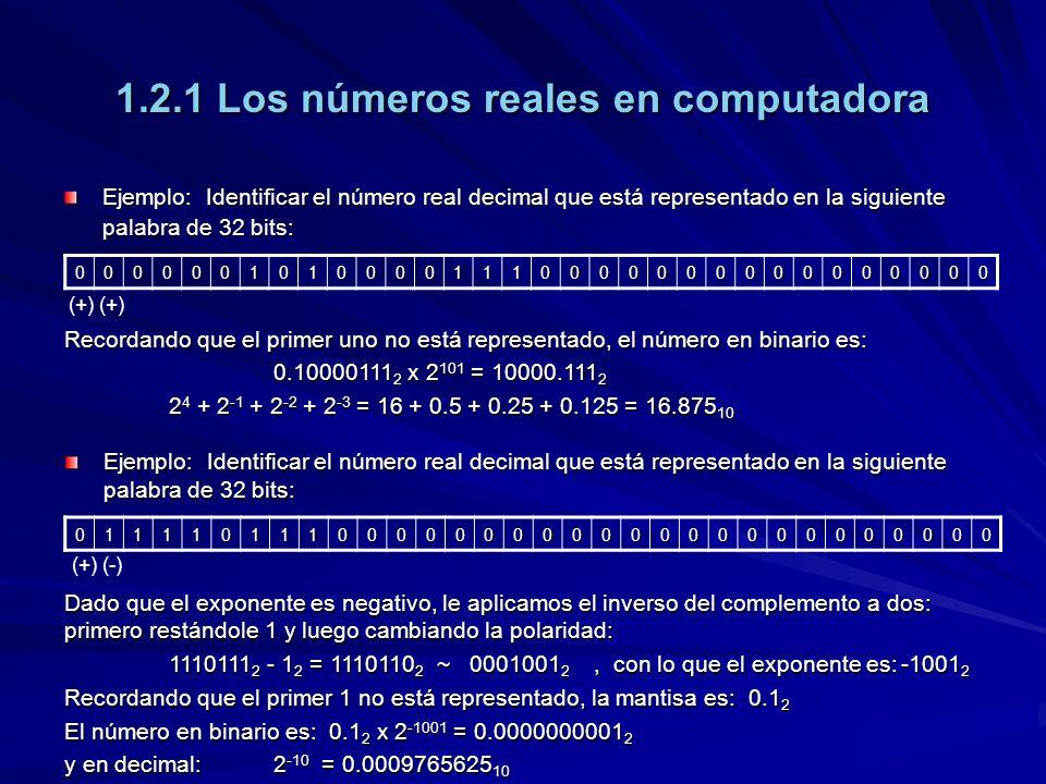 1.2.1 Los números reales en computadora