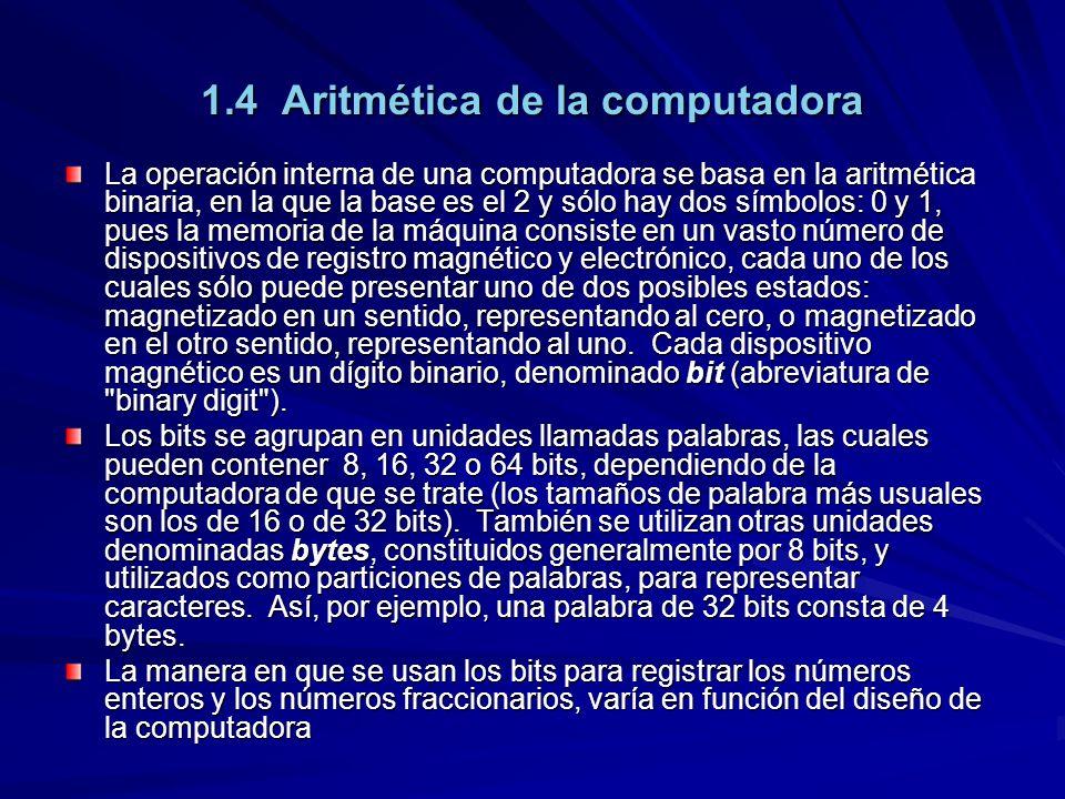 1.4 Aritmética de la computadora