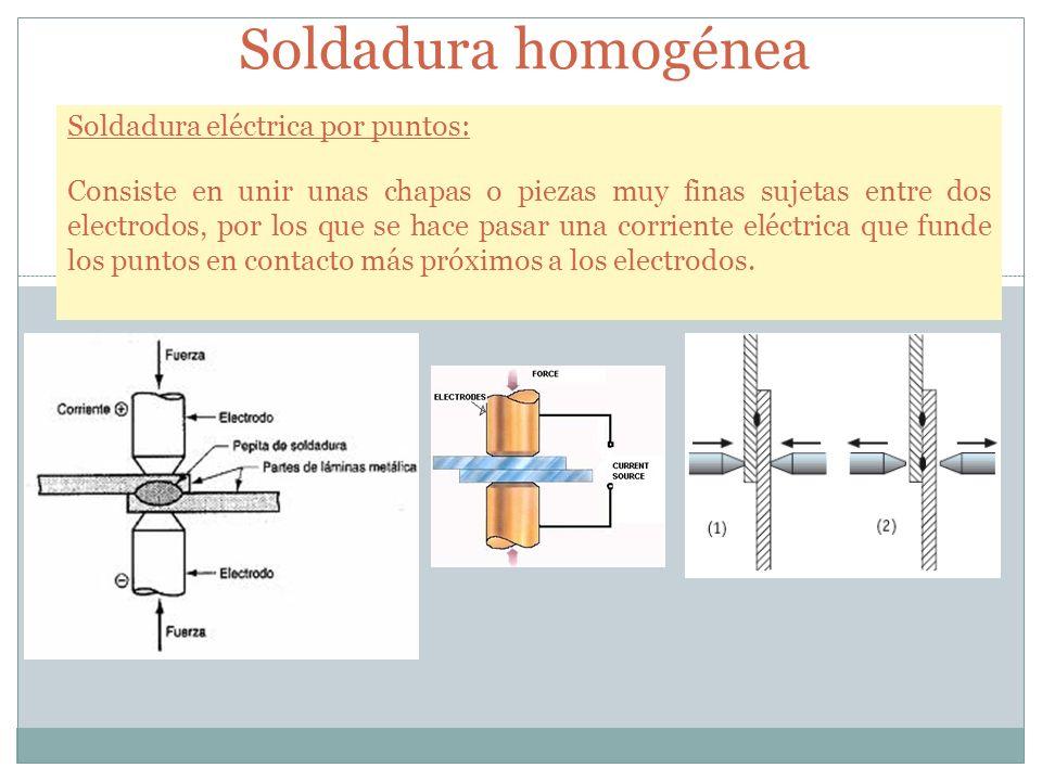 Soldadura homogénea Soldadura eléctrica por puntos: