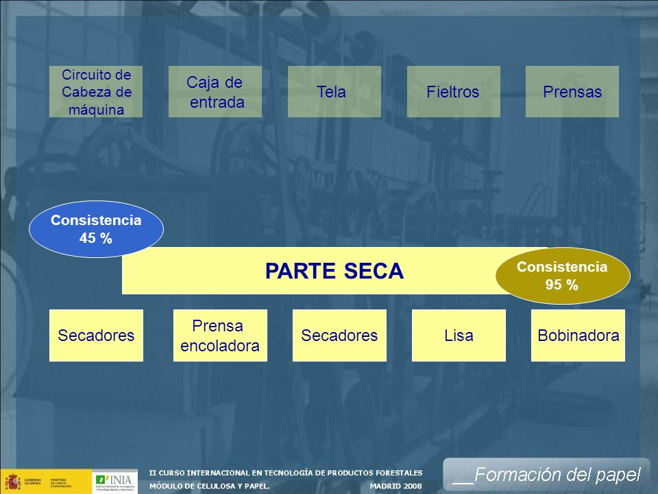 PARTE SECA Caja de entrada Tela Fieltros Prensas Secadores Prensa