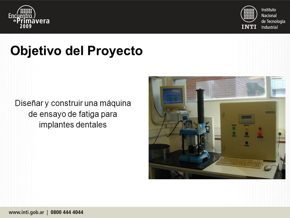 Objetivo del Proyecto Diseñar y construir una máquina de ensayo de fatiga para implantes dentales