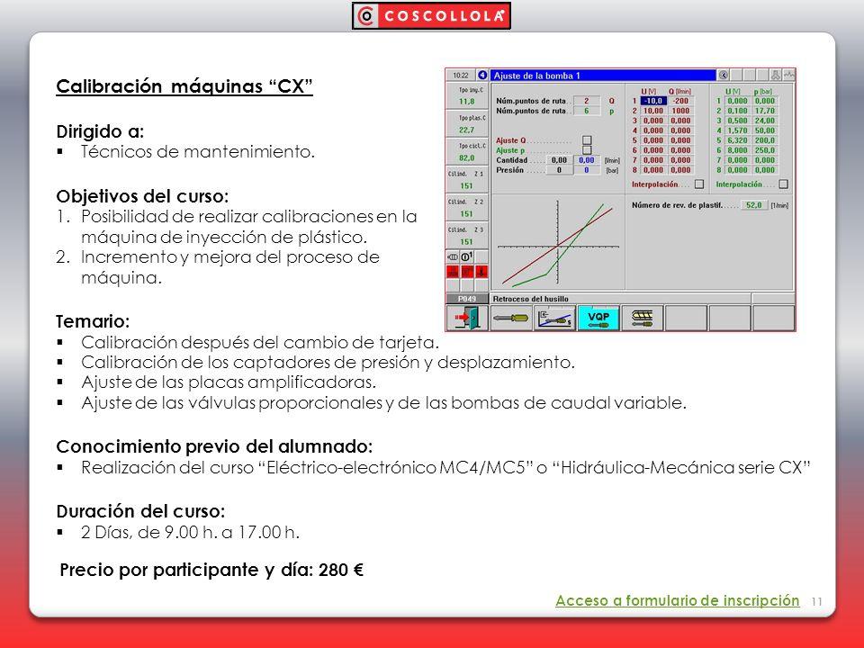 Calibración máquinas CX