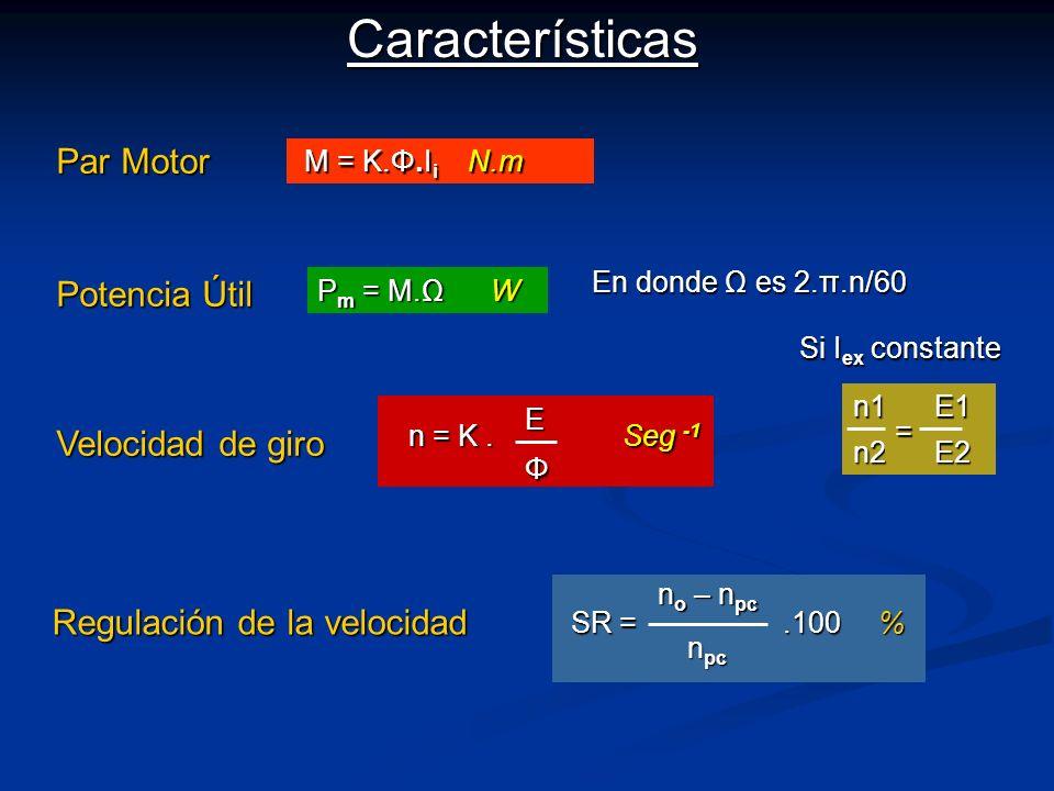 Características Par Motor Potencia Útil Velocidad de giro