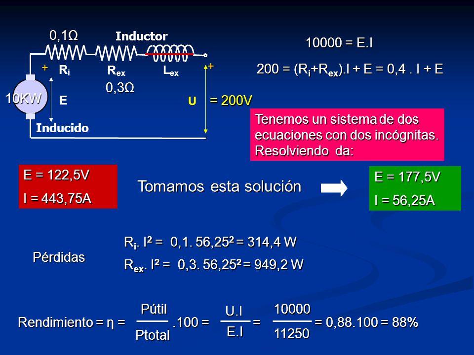 Tomamos esta solución 0,3Ω 0,1Ω 10KW = 200V 10000 = E.I