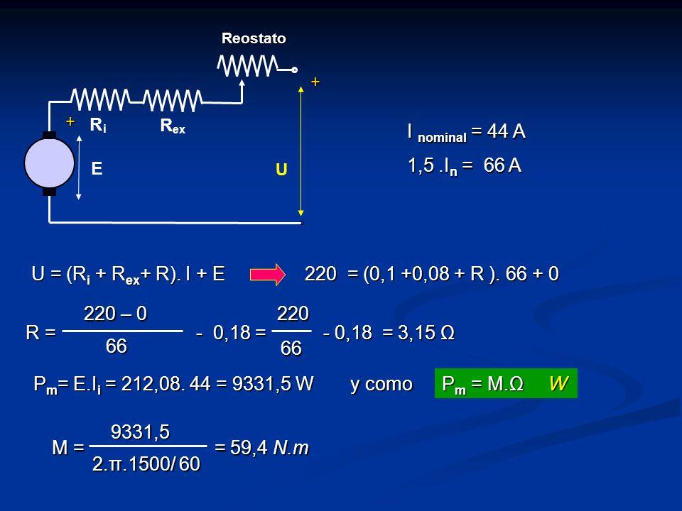 I nominal = 44 A 1,5 .In = 66 A U = (Ri + Rex+ R). I + E